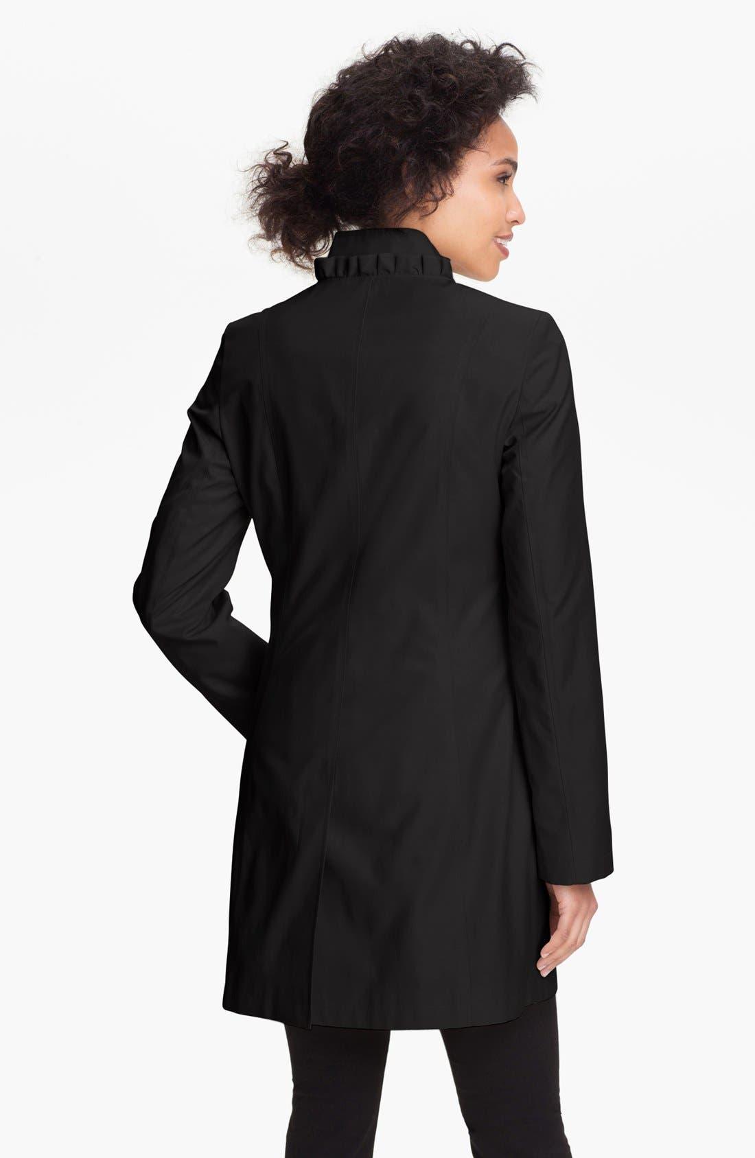 Alternate Image 2  - DKNY Ruffle Front Walking Coat