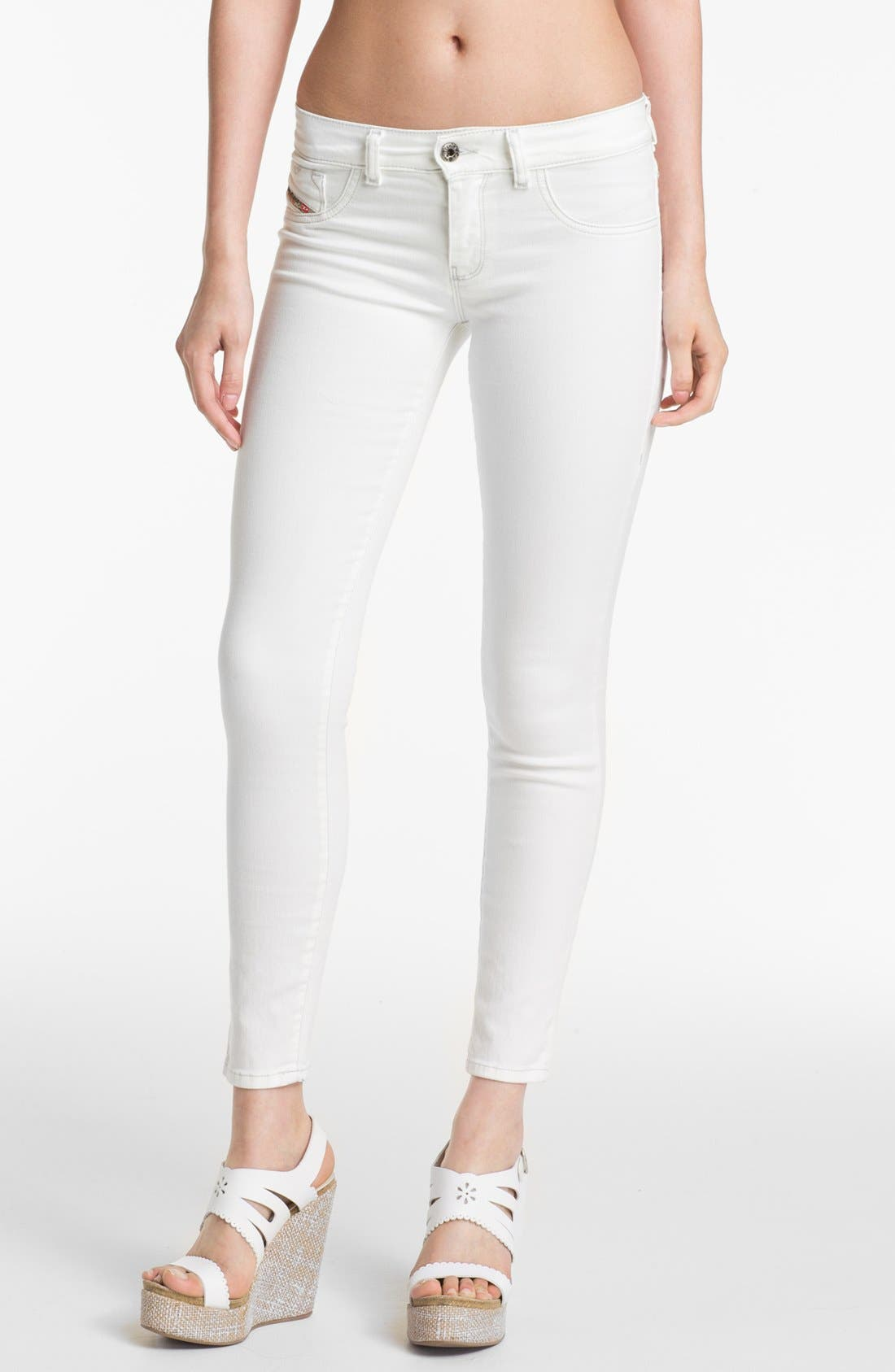 Alternate Image 1 Selected - DIESEL® 'Livier' Ankle Skinny Jeans (White)