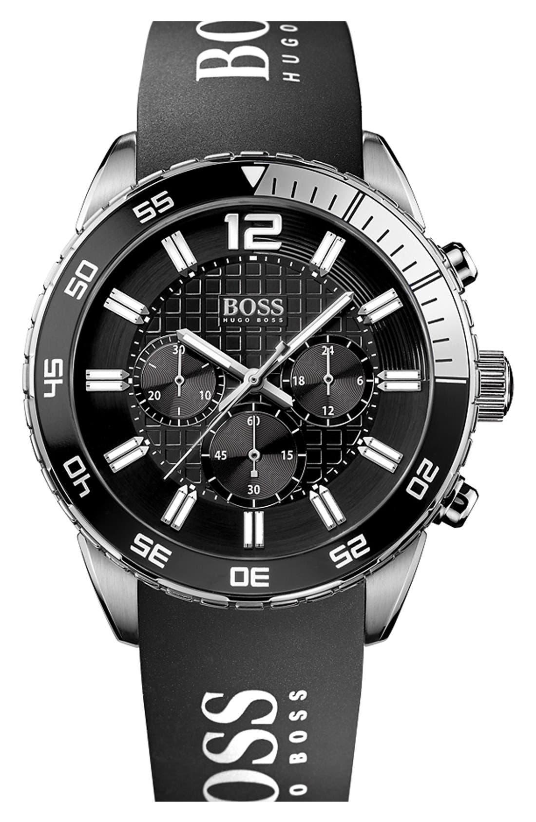 Alternate Image 1 Selected - BOSS HUGO BOSS 'Deep Blue' Chronograph Logo Strap Watch, 46mm