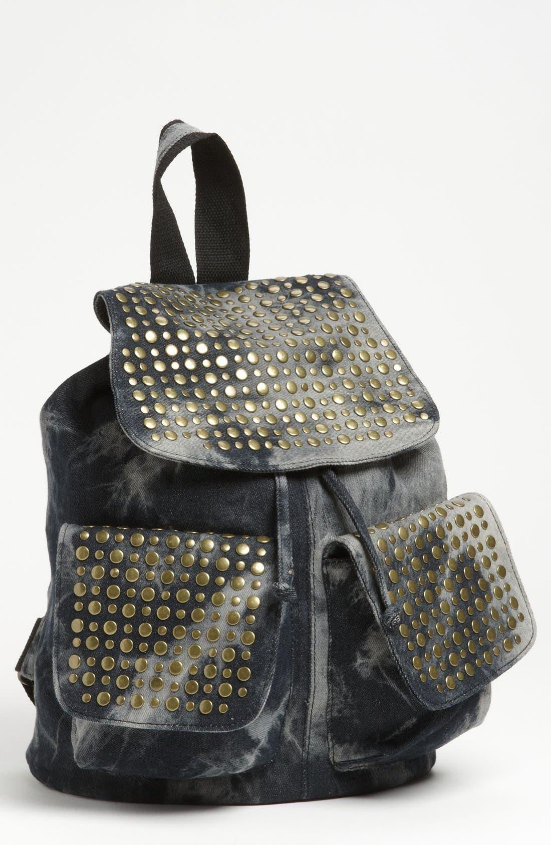 Alternate Image 1 Selected - De L'avion Studded Acid Wash Backpack