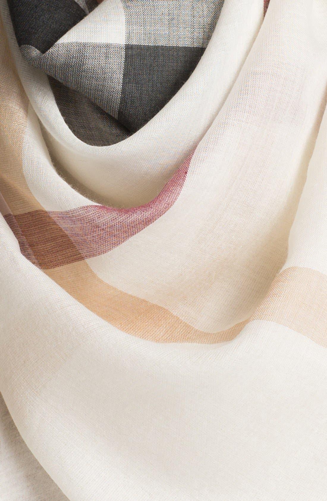 Alternate Image 2  - Burberry Multicolored Wool & Silk Gauze Scarf