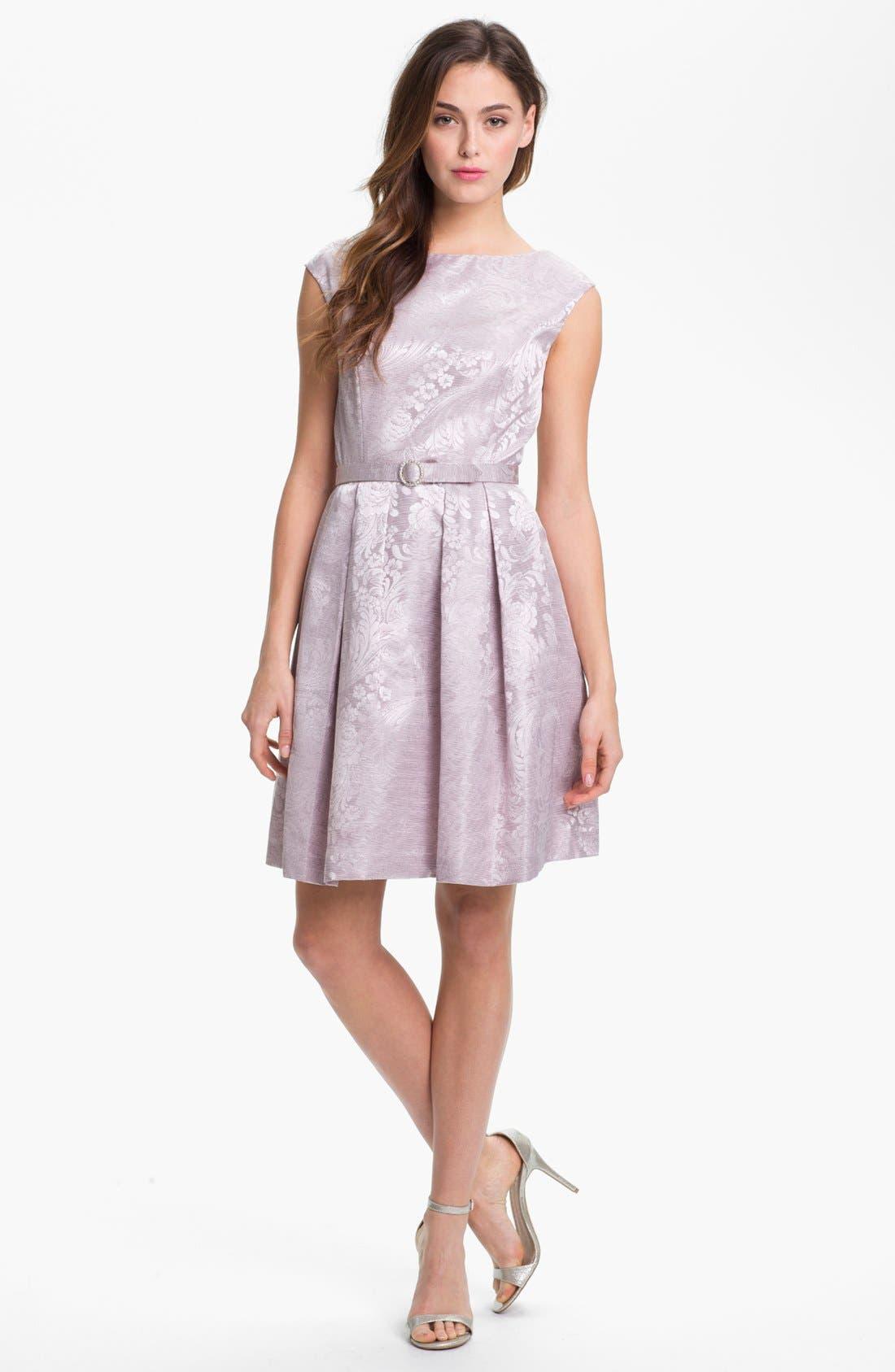 Main Image - Eliza J Textured Print Fit & Flare Dress