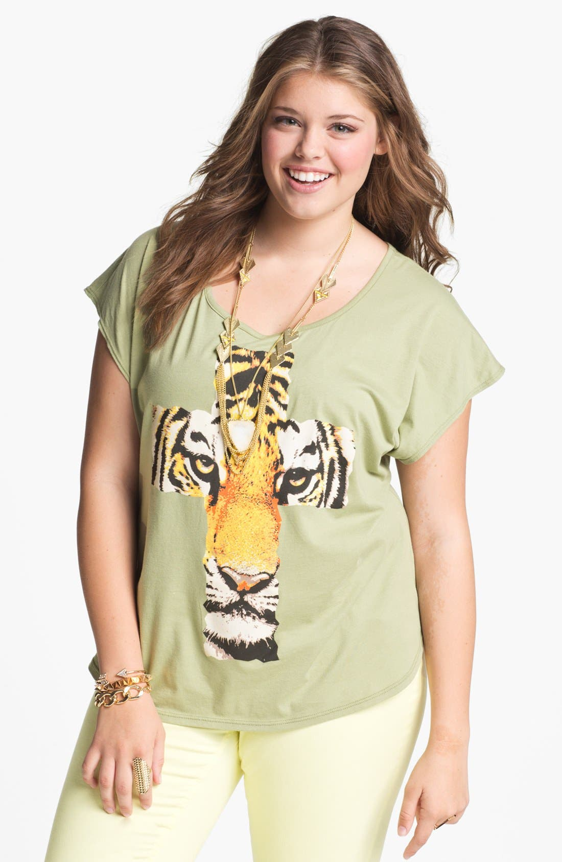 Alternate Image 1 Selected - Pretty Rebel Graphic Cotton Tee (Juniors Plus)