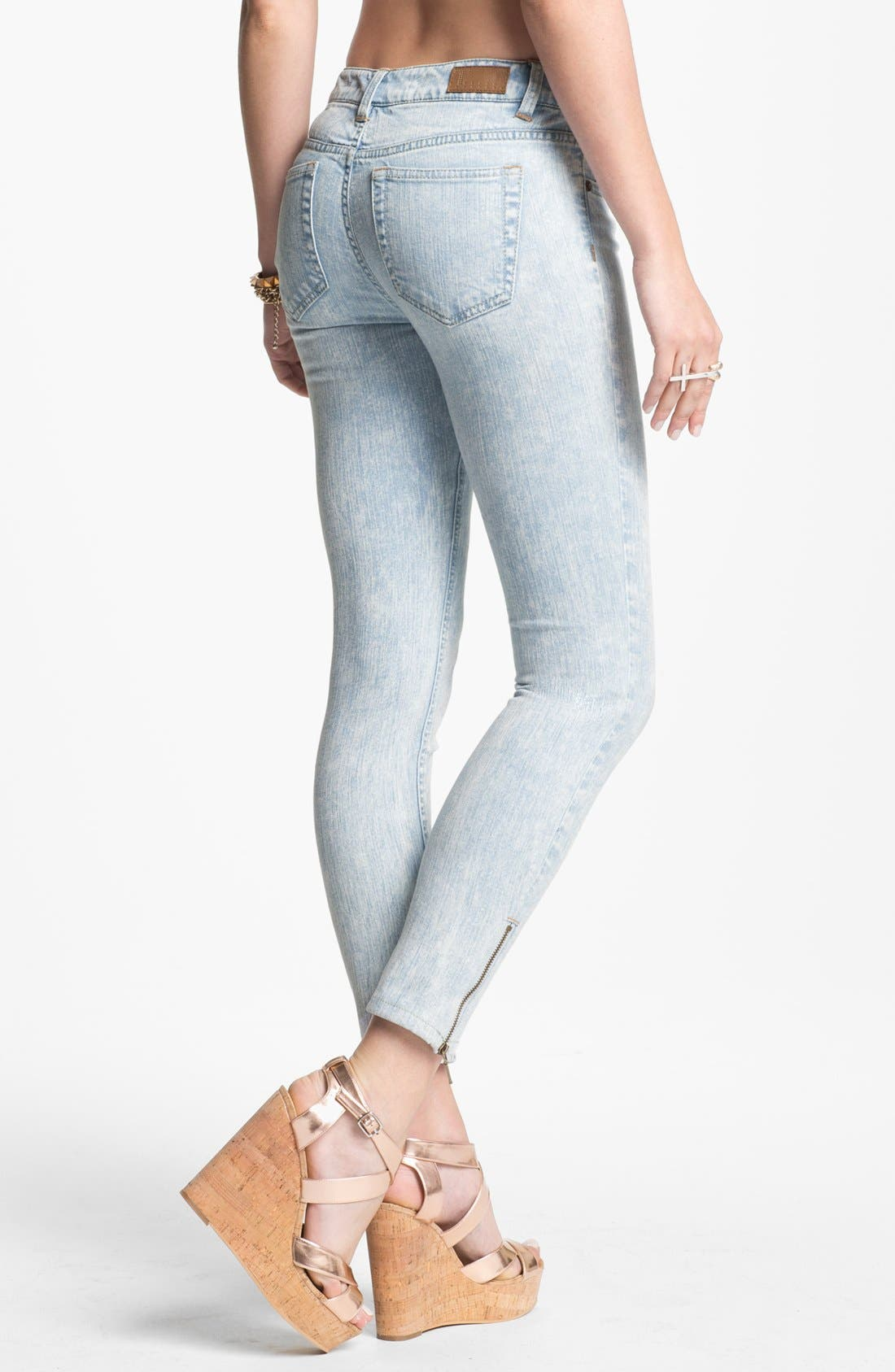 Alternate Image 2  - Fire Zip Cuff Skinny Ankle Jeans (Acid) (Juniors)