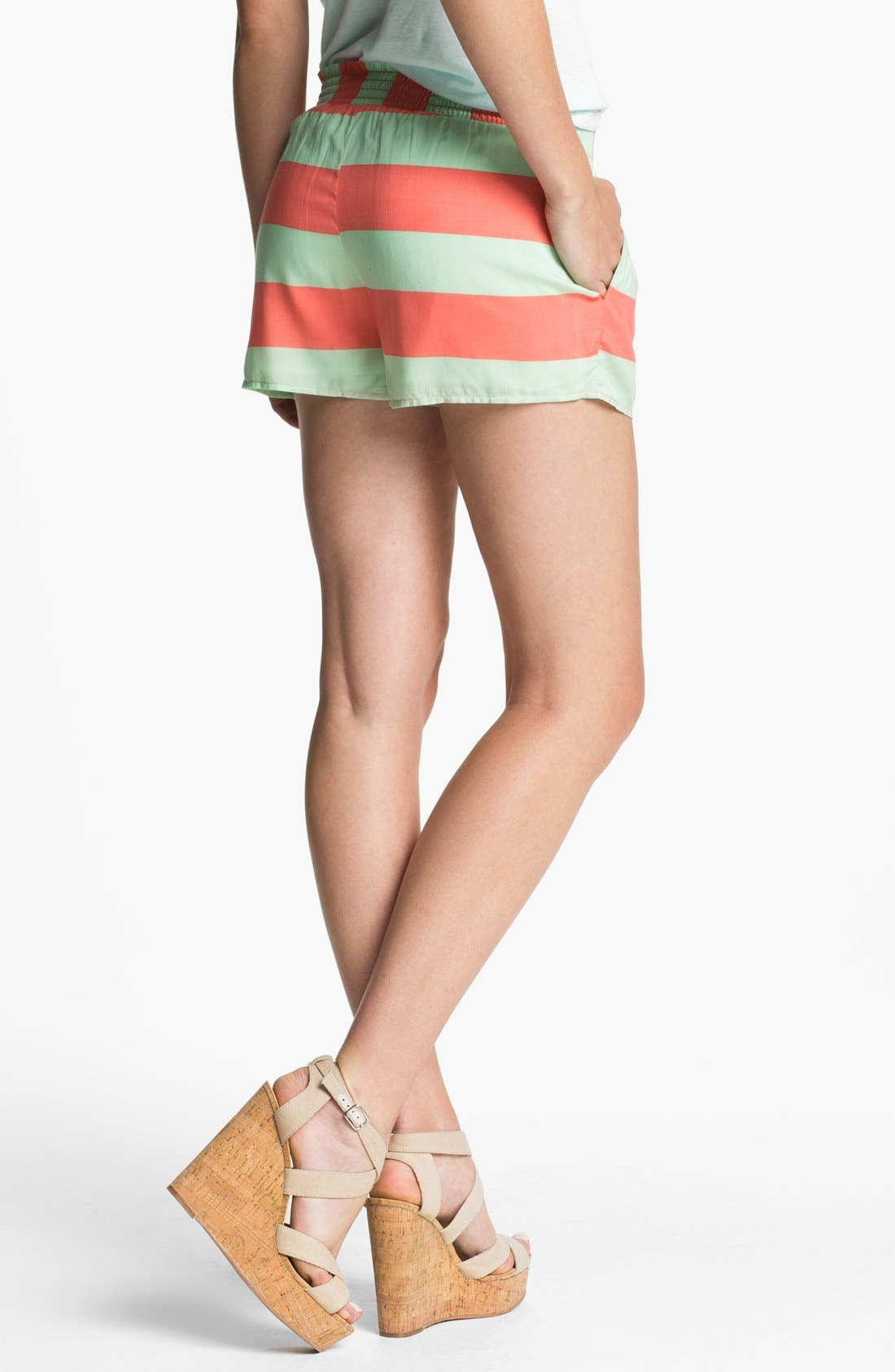 Alternate Image 2  - Splendid Neon Stripe Smock Waist Shorts