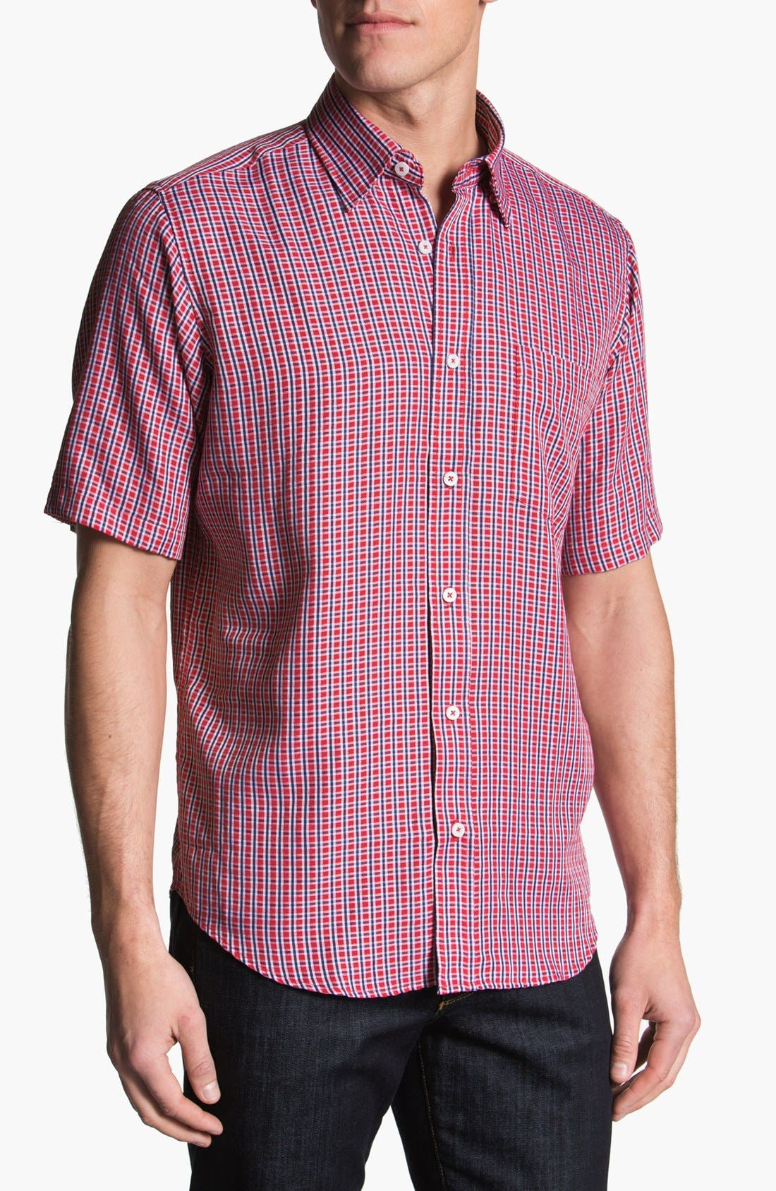 Alternate Image 1 Selected - BUGATCHI Classic Fit Short Sleeve Sport Shirt