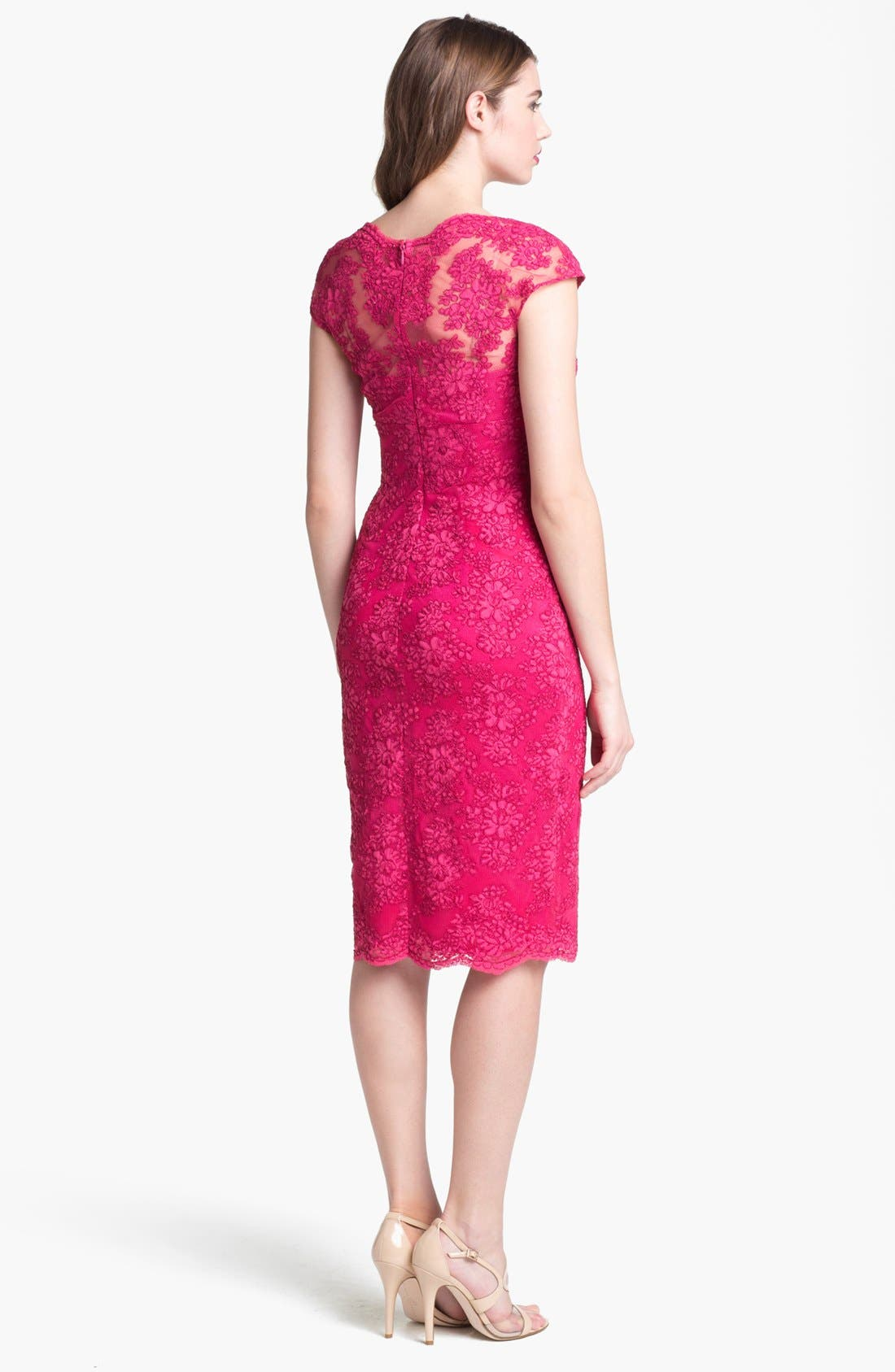 Alternate Image 2  - David Meister Cap Sleeve Lace Sheath Dress