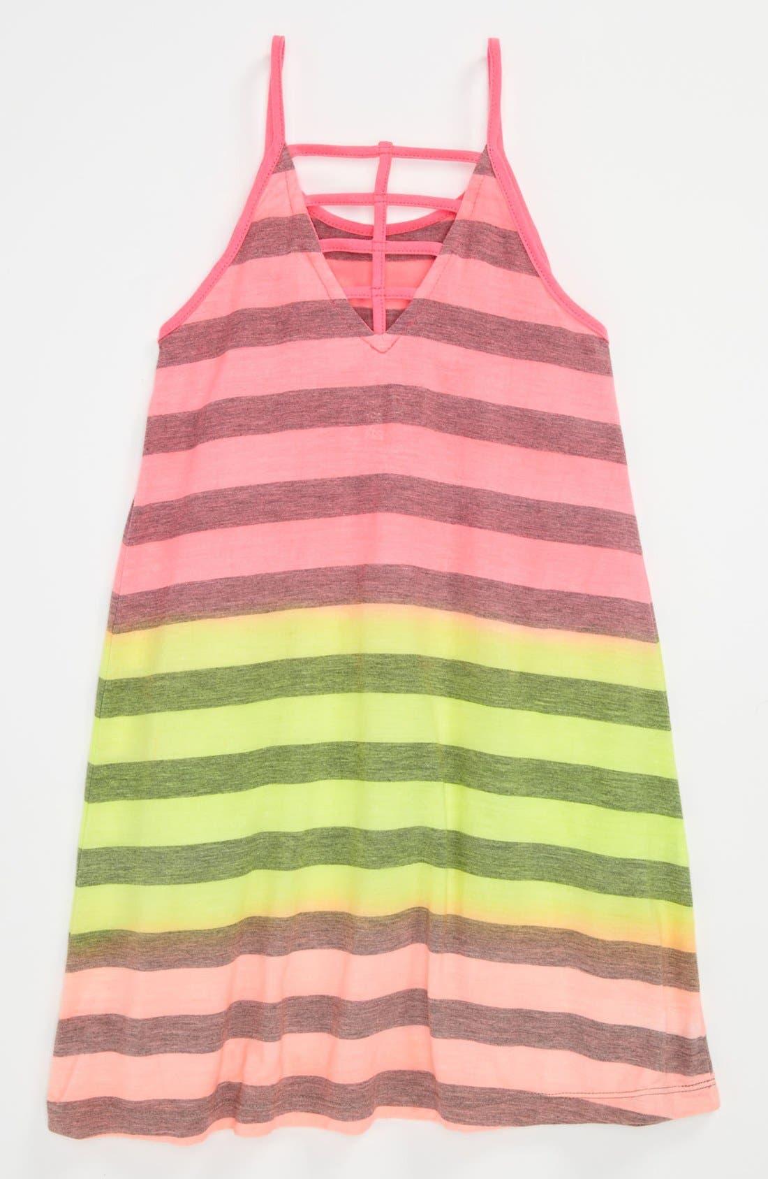 Alternate Image 2  - Flowers by Zoe Neon Stripe Dress (Little Girls)