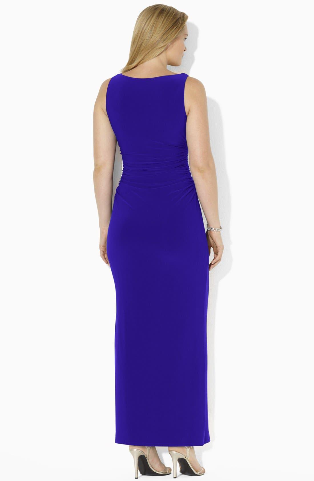 Alternate Image 2  - Lauren Ralph Lauren Sleeveless Jersey Gown (Plus Size)