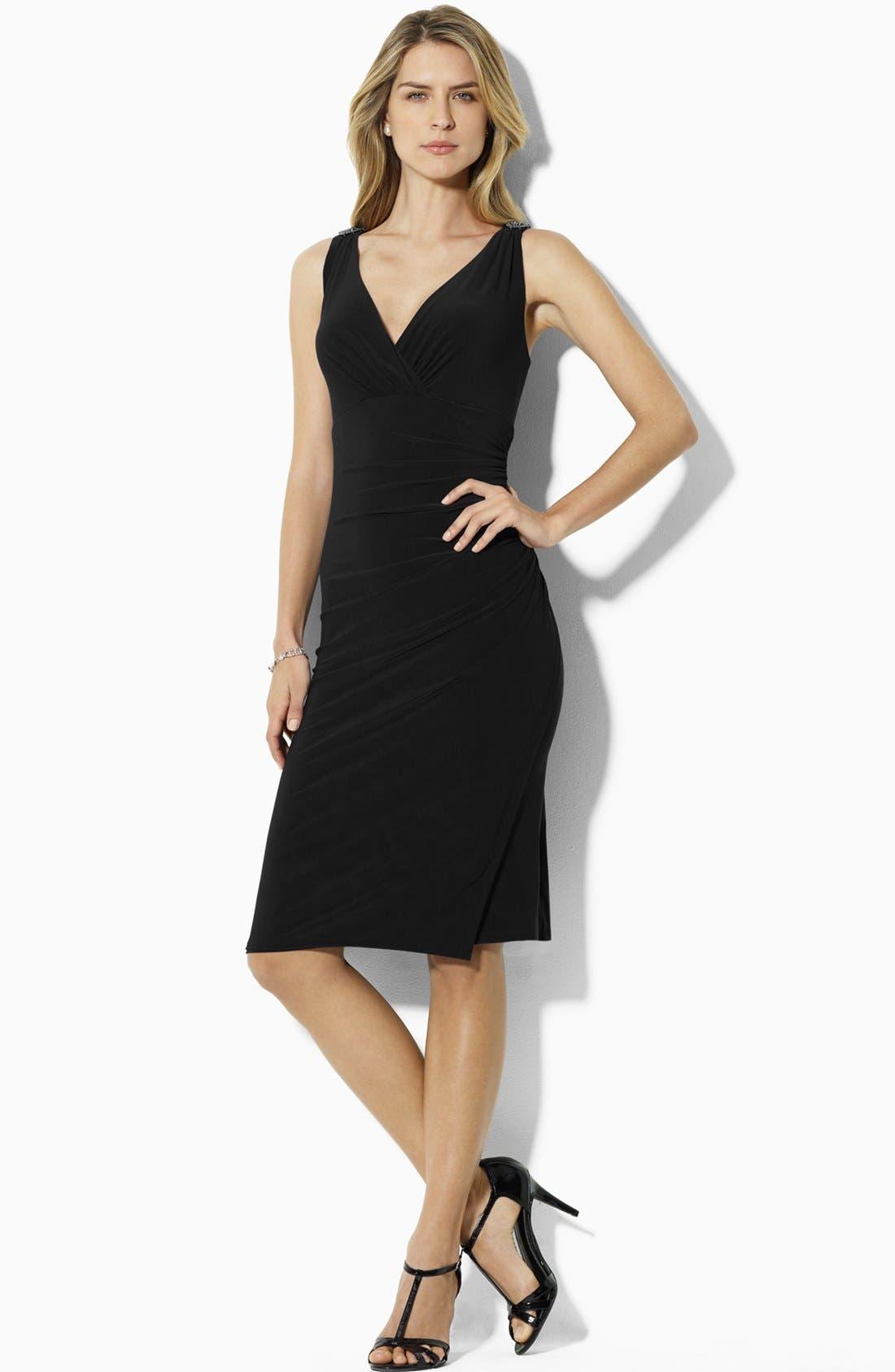 Main Image - Lauren Ralph Lauren Embellished Sleeveless Jersey Dress (Petite)