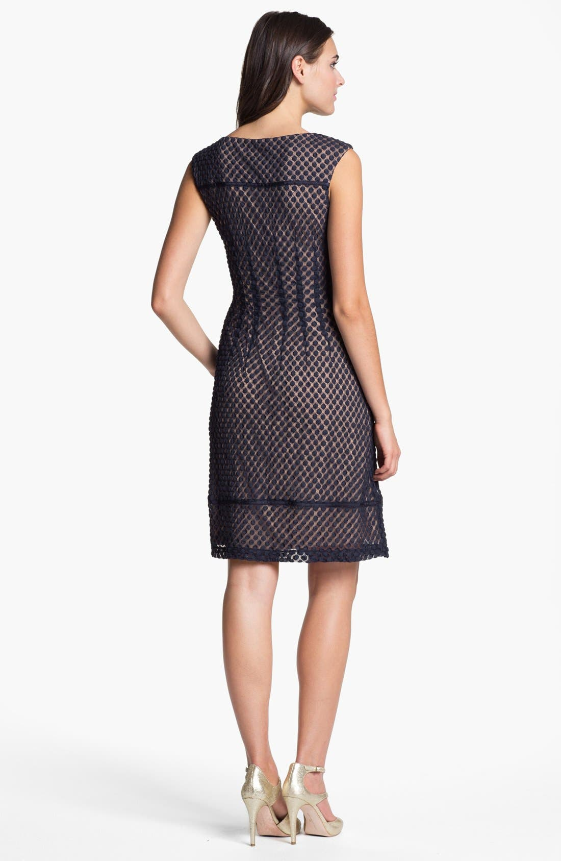 Alternate Image 3  - Adrianna Papell Sleeveless Dot Lace Shift Dress (Regular & Petite)