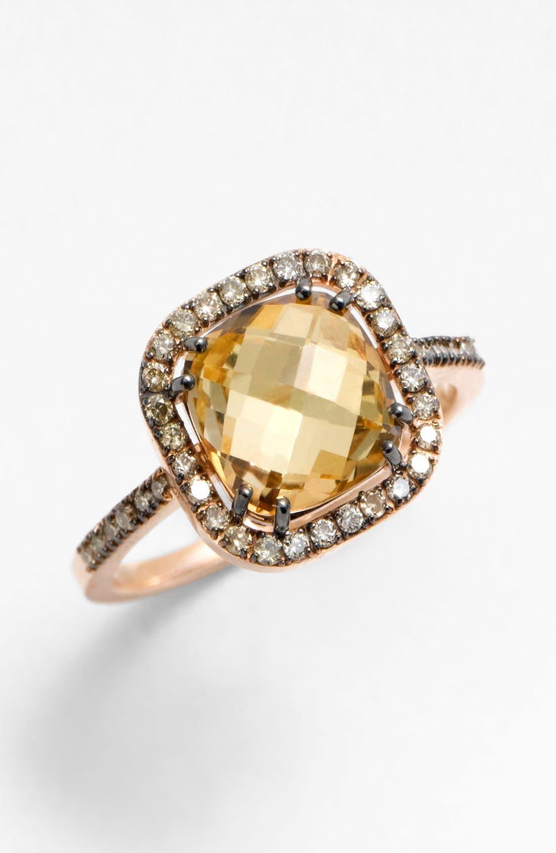 Main Image - KALAN by Suzanne Kalan Cushion Stone Diamond Bezel Ring