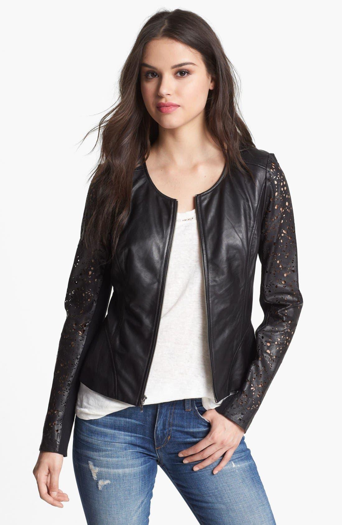 Main Image - Hinge® Laser Cut Leather Jacket