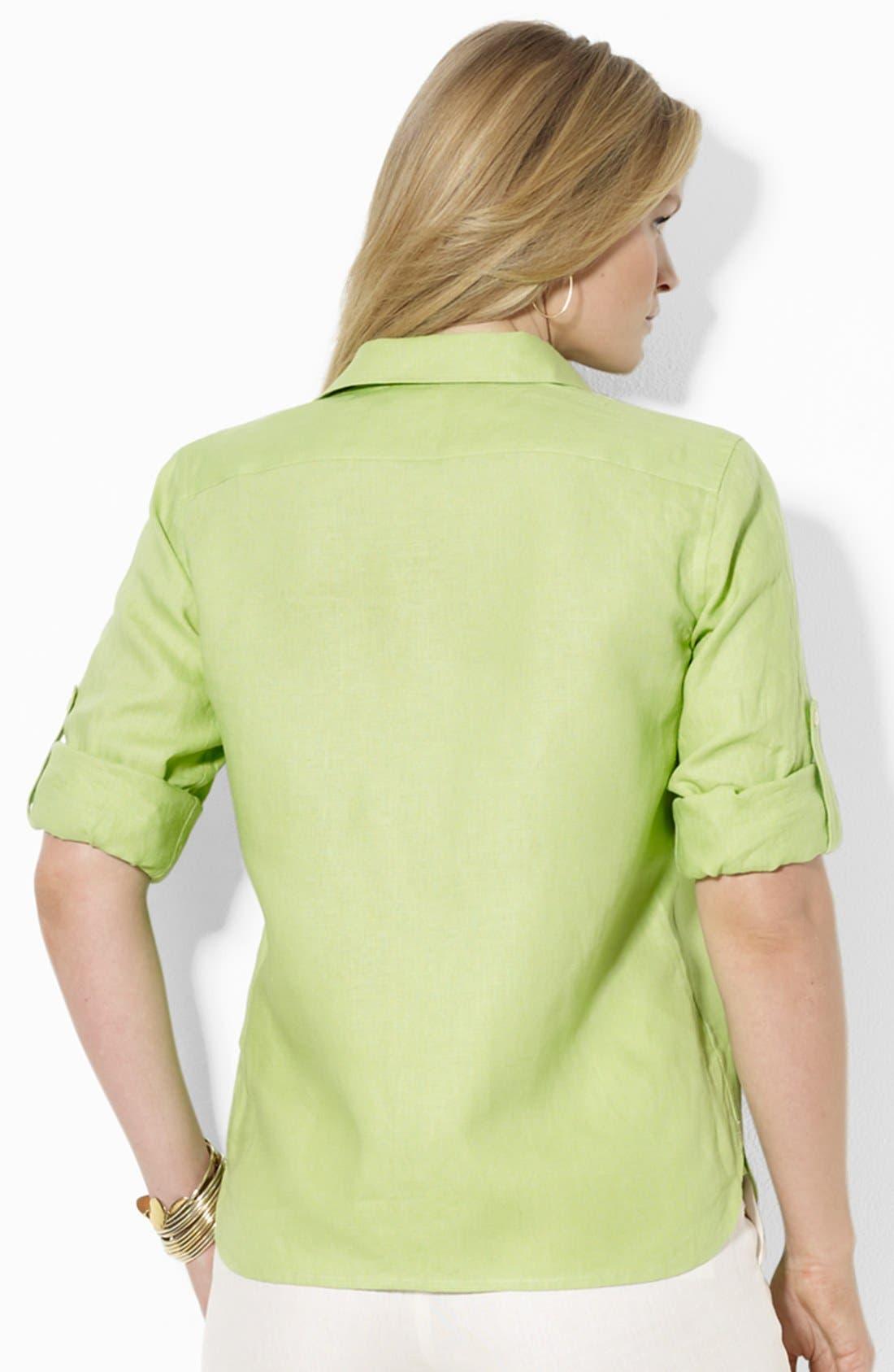 Alternate Image 2  - Lauren Ralph Lauren Linen Work Shirt (Plus Size)
