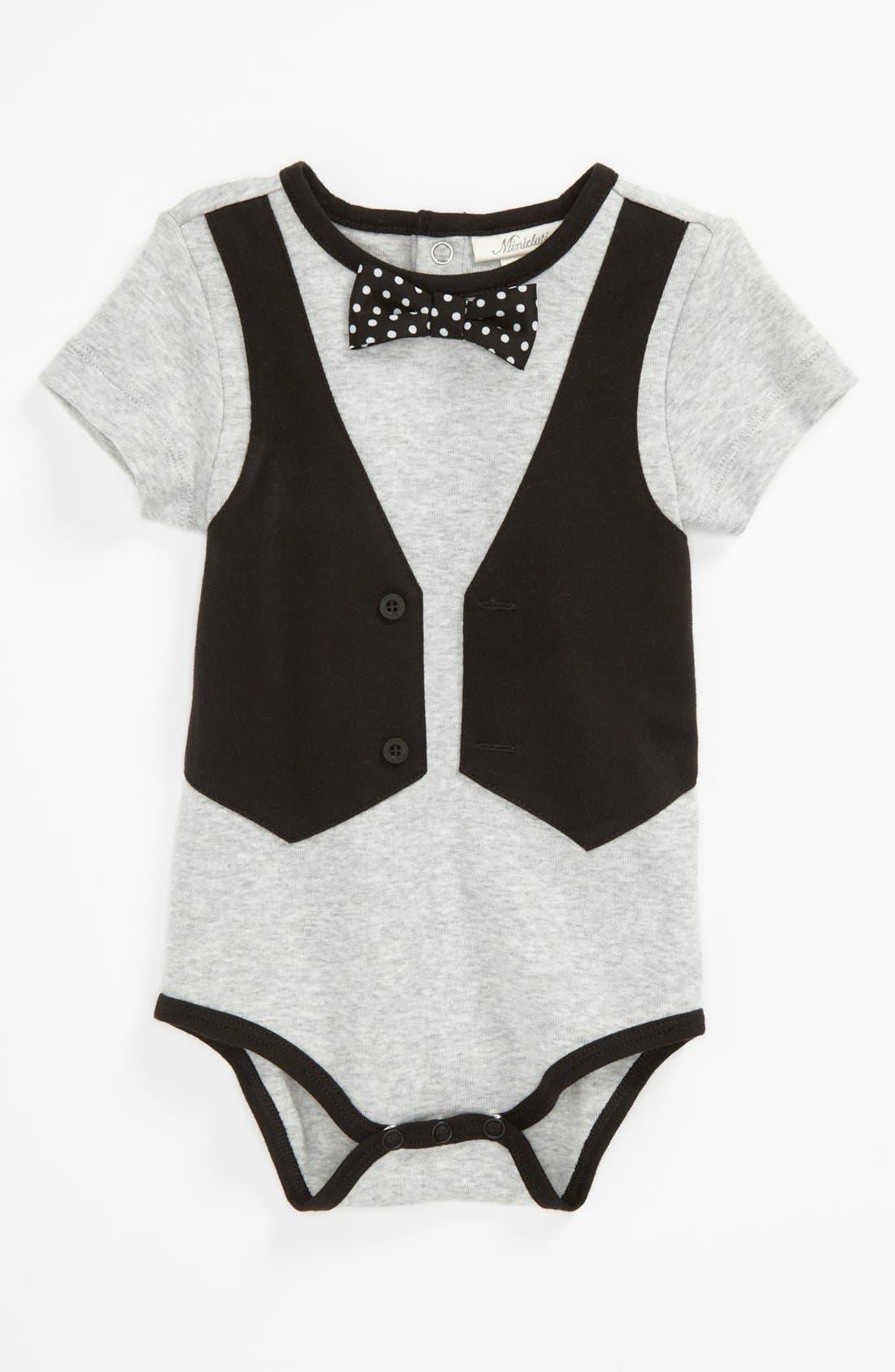 Main Image - Miniclasix Bow Tie Bodysuit (Baby)