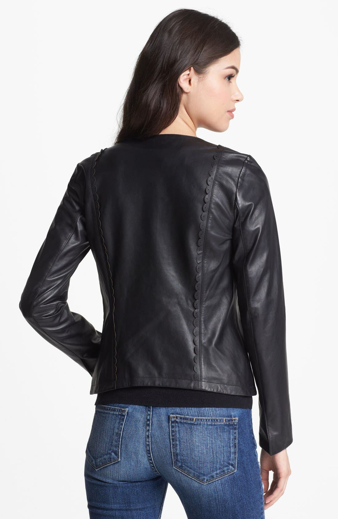 Alternate Image 2  - Hinge® Scallop Trim Leather Jacket (Online Only)