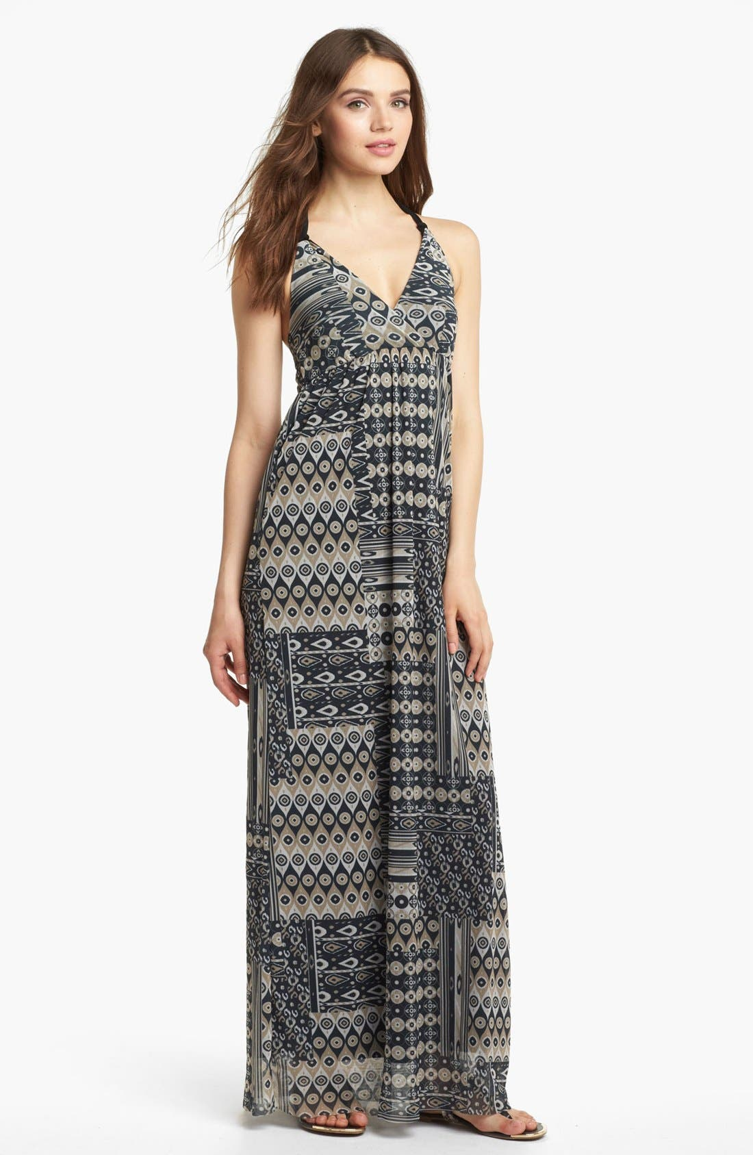 Alternate Image 1 Selected - Sweet Pea by Stacy Frati Mix Print Halter Maxi Dress