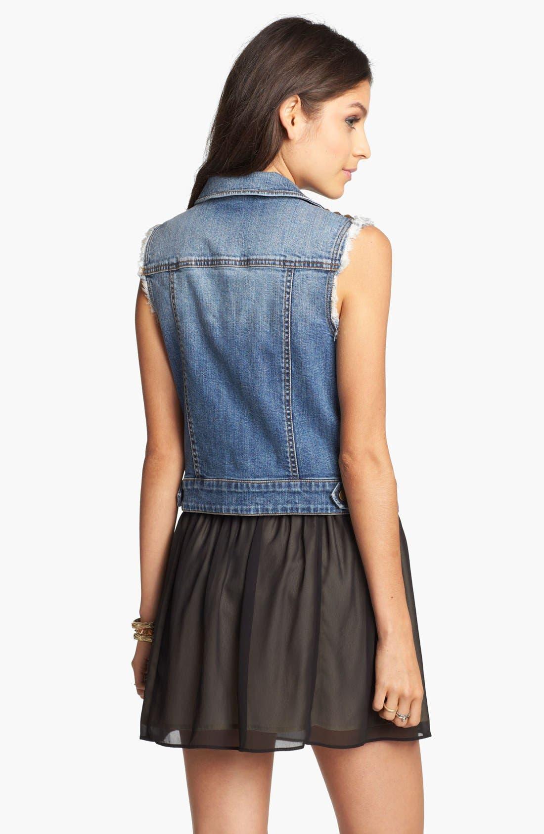 Alternate Image 2  - Frenchi® Chiffon Miniskirt (Juniors)