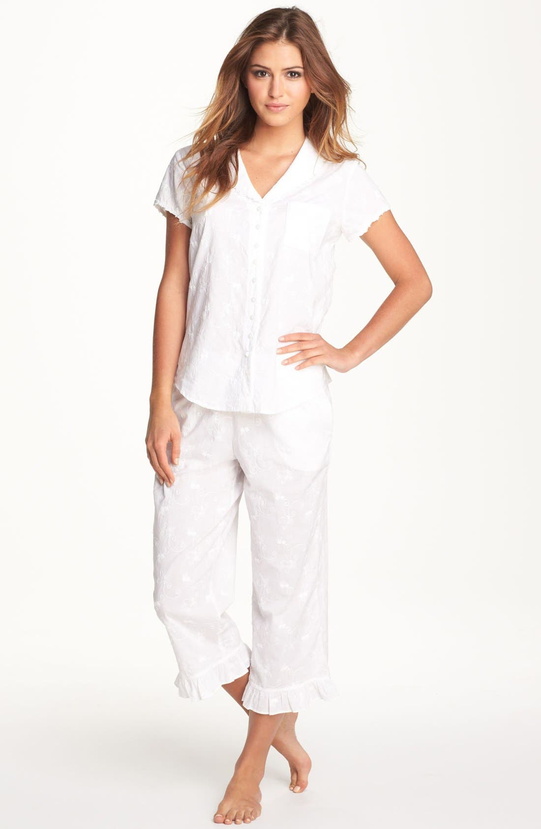 Main Image - Eileen West 'Breaking Waves' Embroidered Pajamas