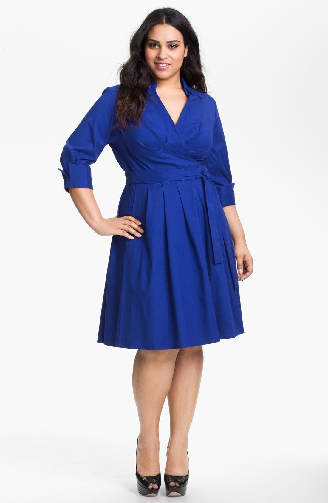 Main Image - Donna Ricco Wrap Shirtdress (Plus Size)