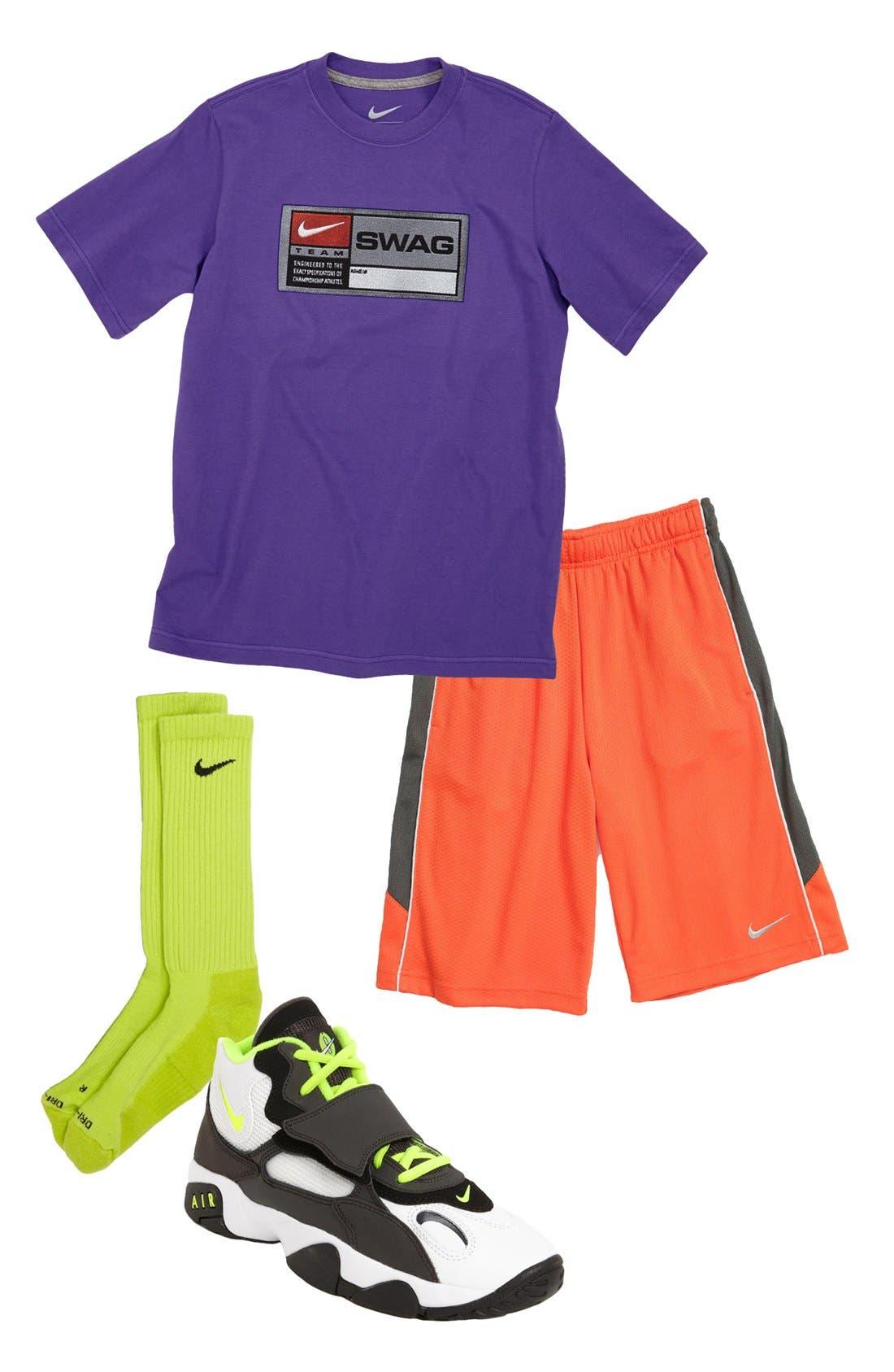 Main Image - Nike T-Shirt, Shorts, Socks & Sneaker (Big Boys)