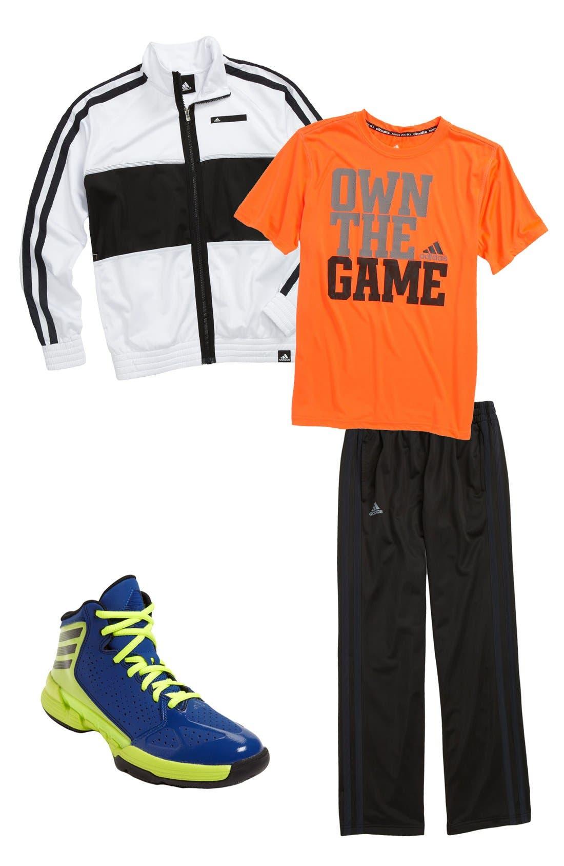 Main Image - adidas T-Shirt, Jacket, Pants & Basketball Shoe (Big Boys)