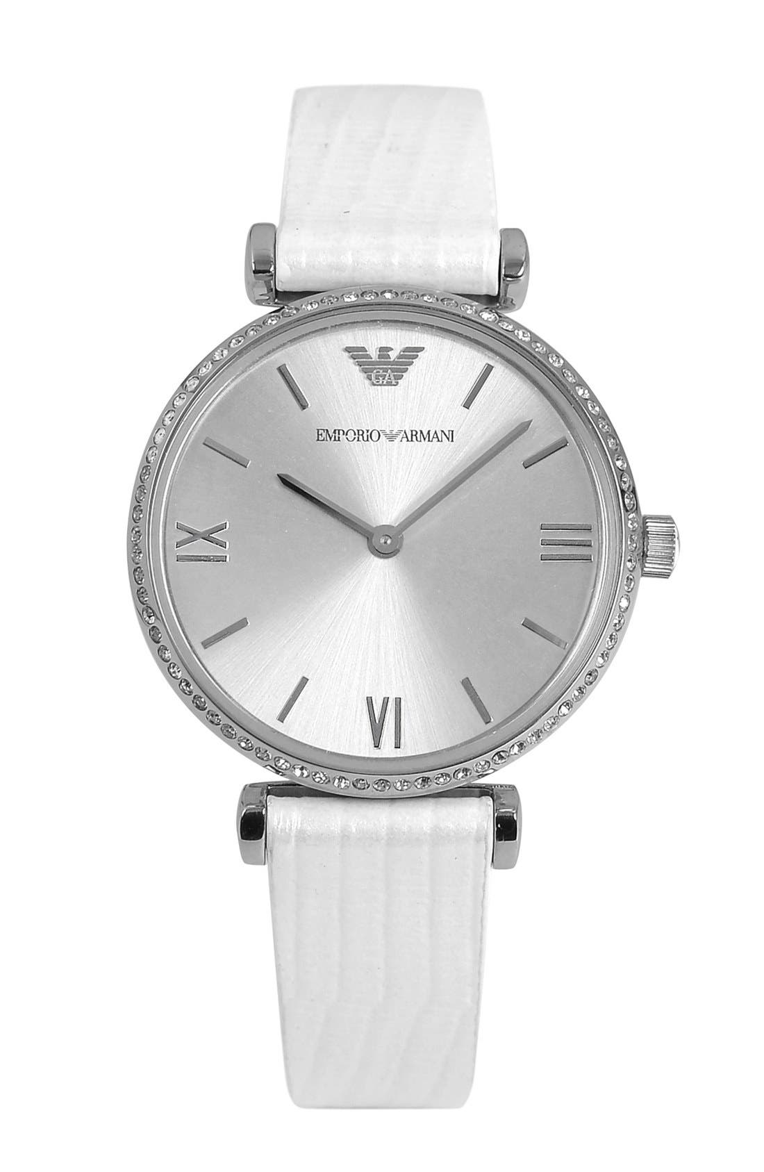 Alternate Image 1 Selected - Emporio Armani Crystal Bezel Embossed Leather Strap Watch, 32mm