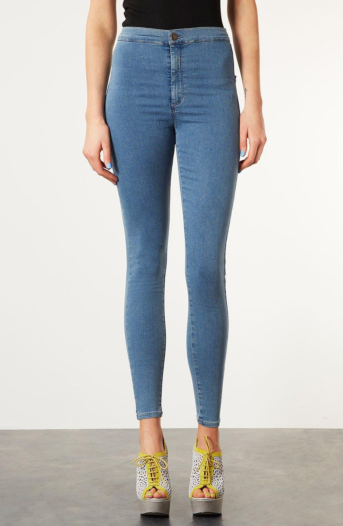 Main Image - Topshop Moto 'Vintage Joni' High Rise Skinny Crop Jeans (Mid Stone)