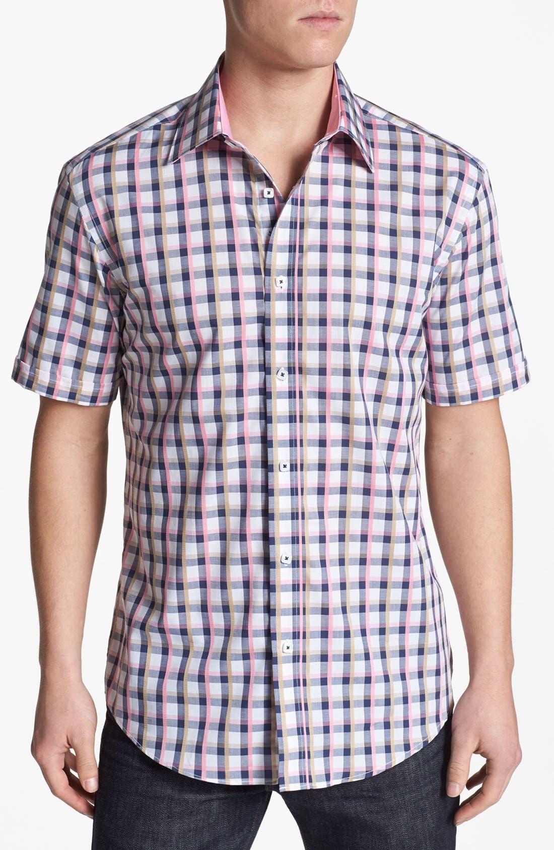 Main Image - Bugatchi Short Sleeve Shaped Fit Sport Shirt