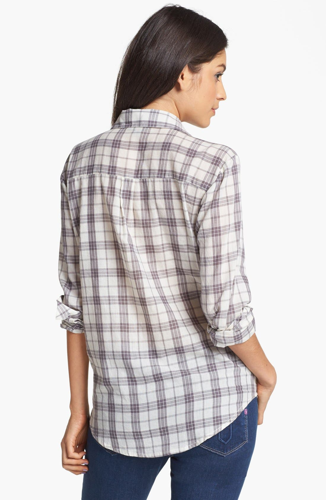 Alternate Image 2  - Rubbish® Plaid Collared Shirt (Juniors) (Online Only)