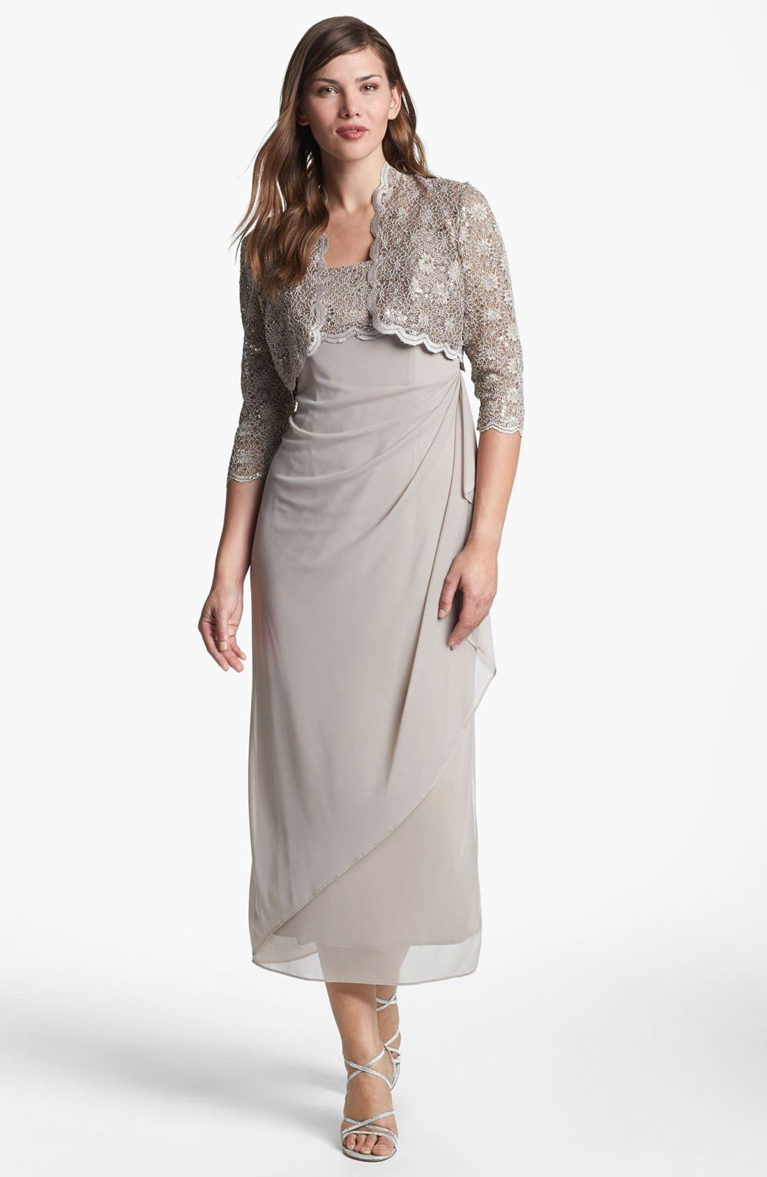 Alternate Image 1 Selected - Alex Evenings Ruched Dress & Bolero (Petite)