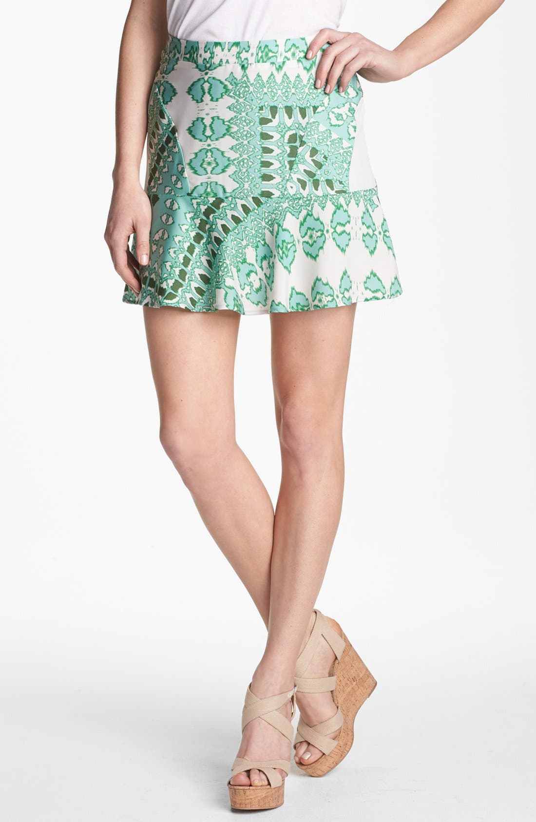 Main Image - Collective Concepts Mix Print Ruffle Skirt