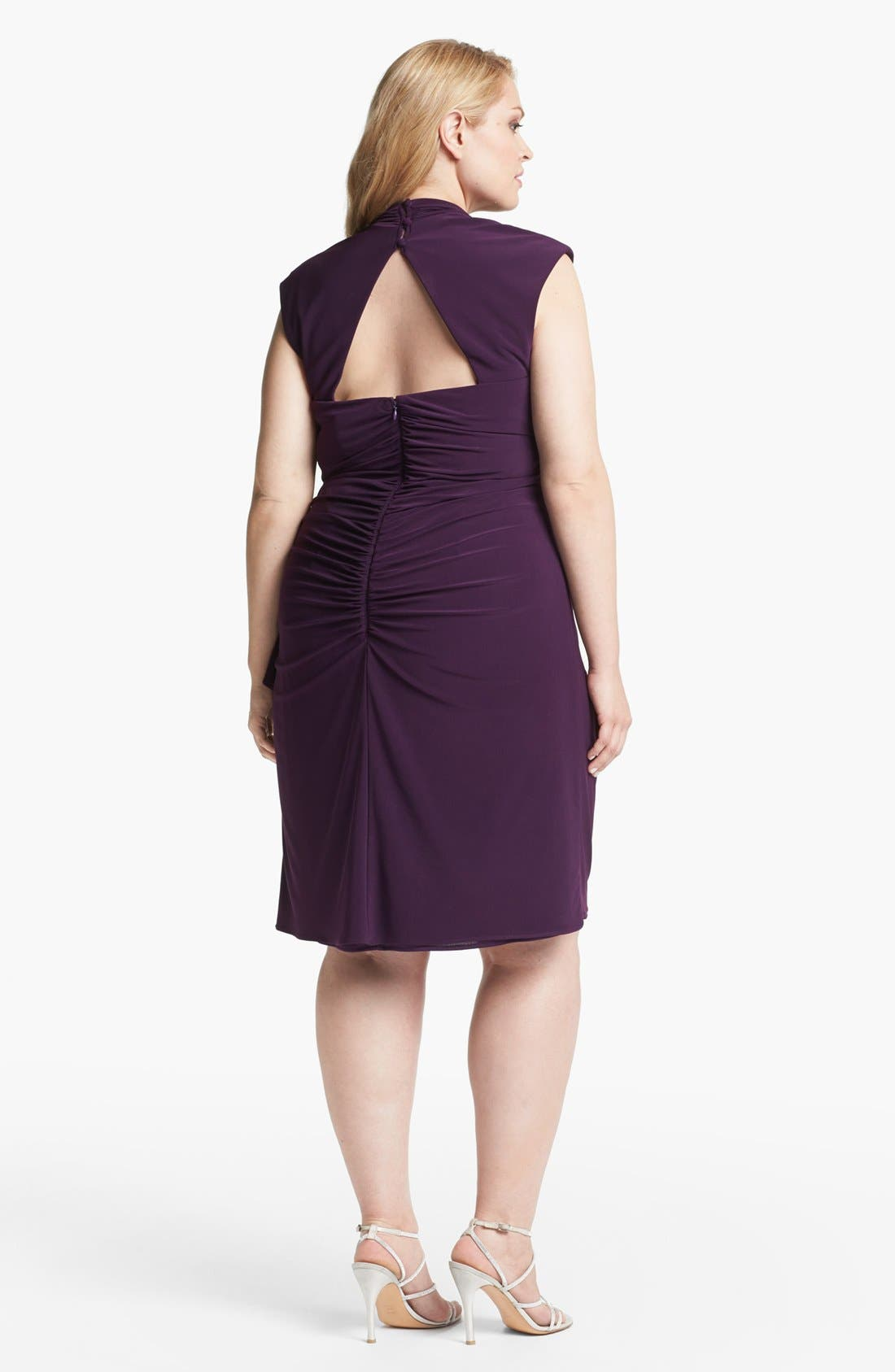 Alternate Image 2  - Xscape Ruched Cowl Neck Dress (Plus Size)