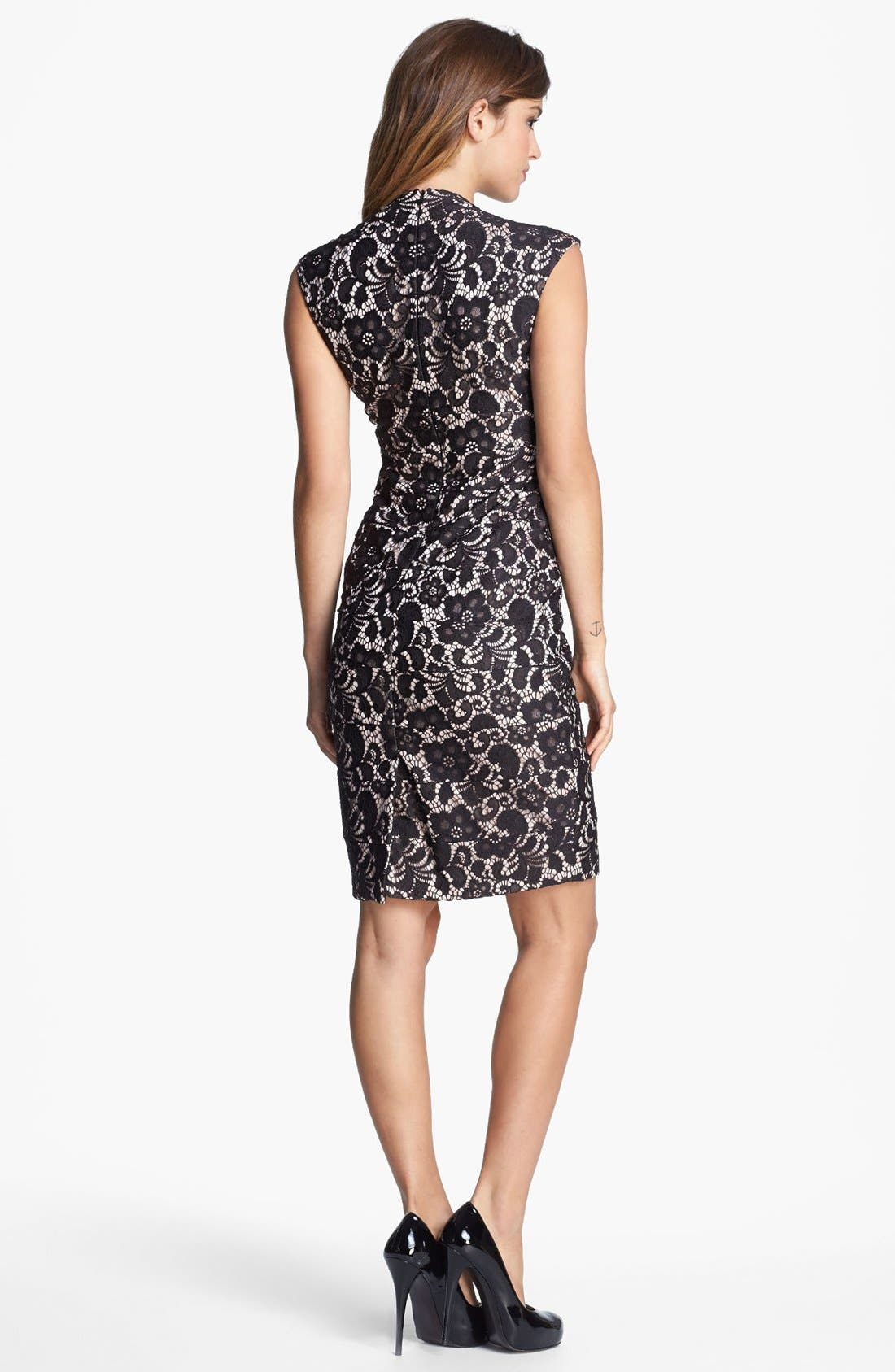 Alternate Image 2  - JAX Cap Sleeve Lace Sheath Dress