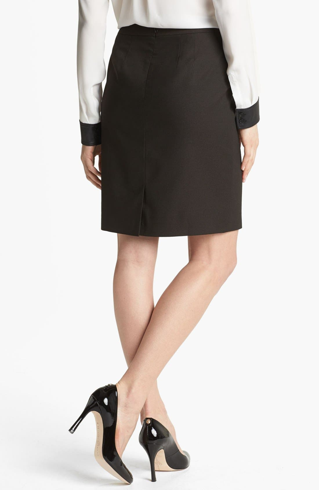 Pencil Skirt,                             Alternate thumbnail 2, color,                             Black/ Brown Combo