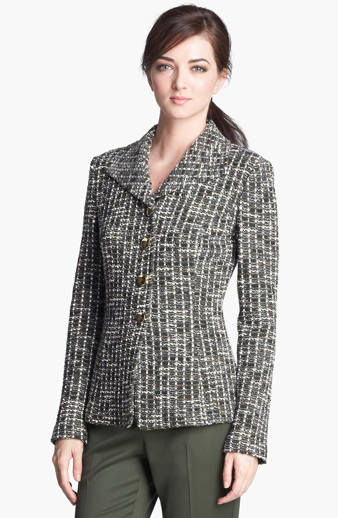Main Image - St. John Collection Loden Check Tweed Knit Jacket