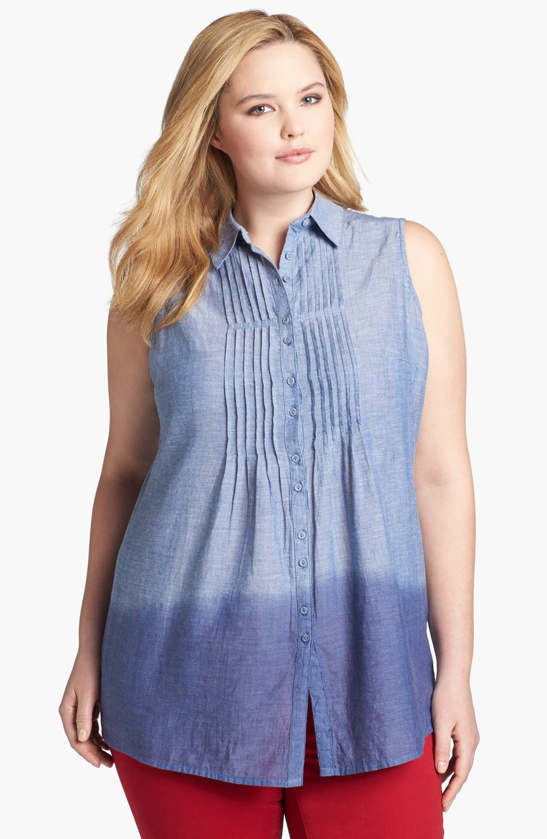 Alternate Image 1 Selected - Evans Pintuck Sleeveless Denim Top (Plus Size)