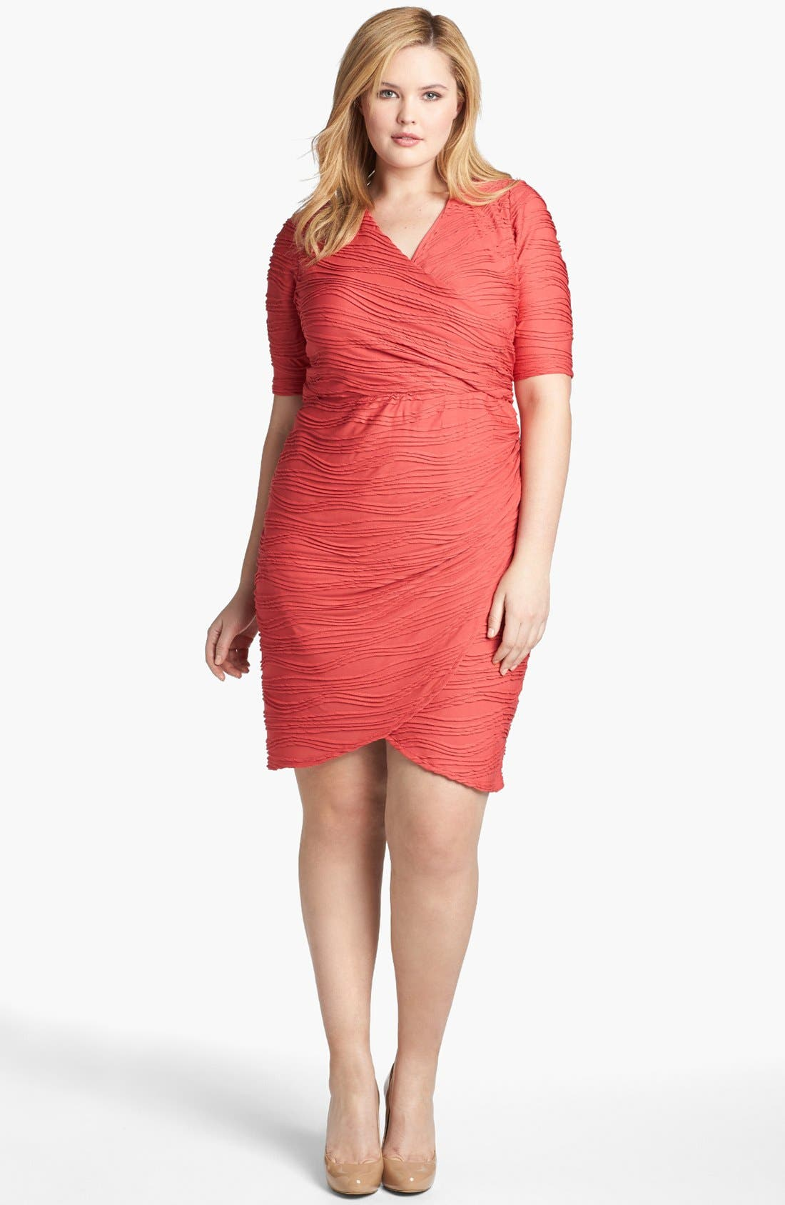 Alternate Image 1 Selected - London Times Textured Short Sleeve Sheath Dress (Plus Size)