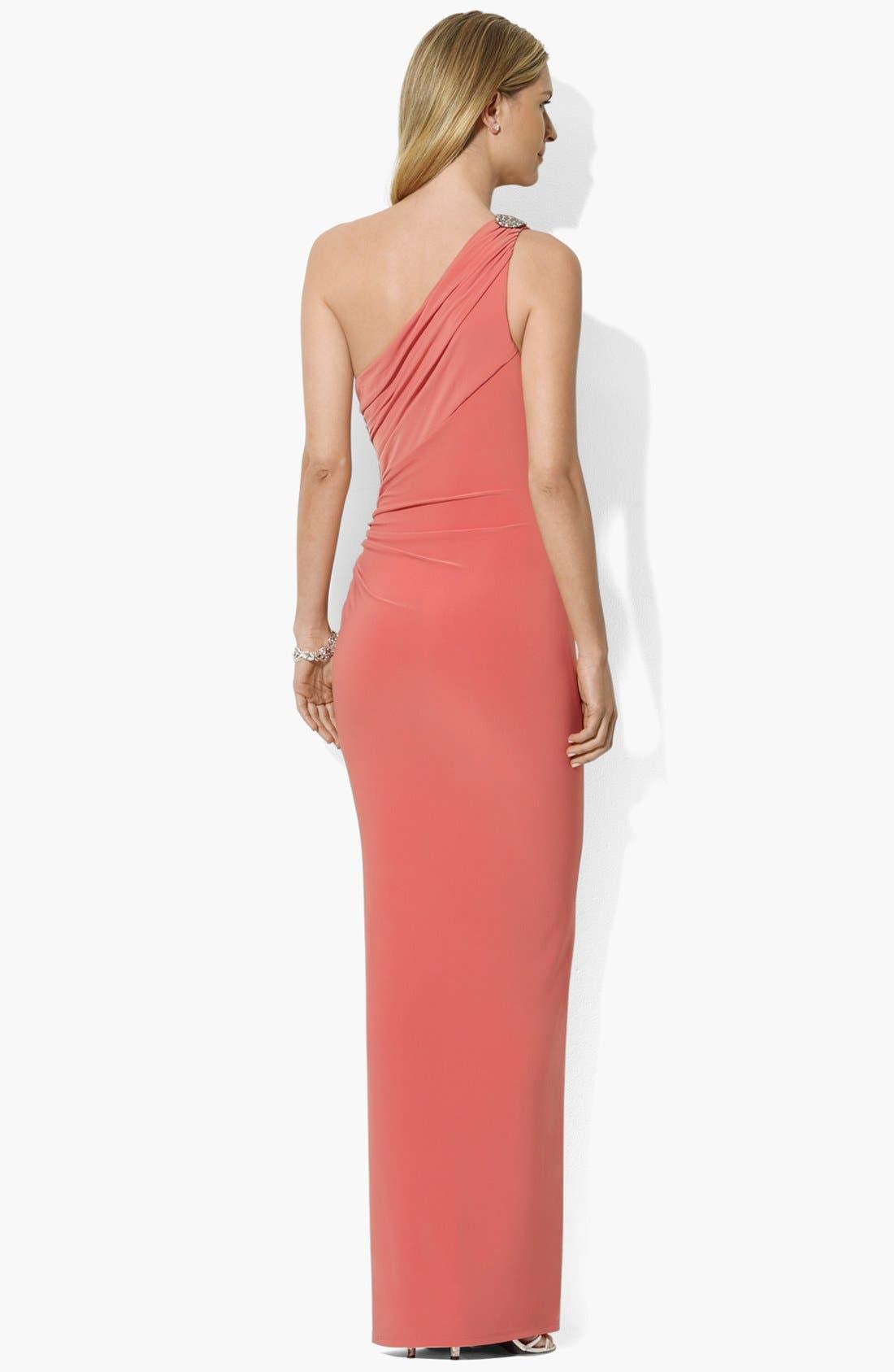 Alternate Image 2  - Lauren Ralph Lauren One Shoulder Matte Jersey Dress (Regular & Petite)