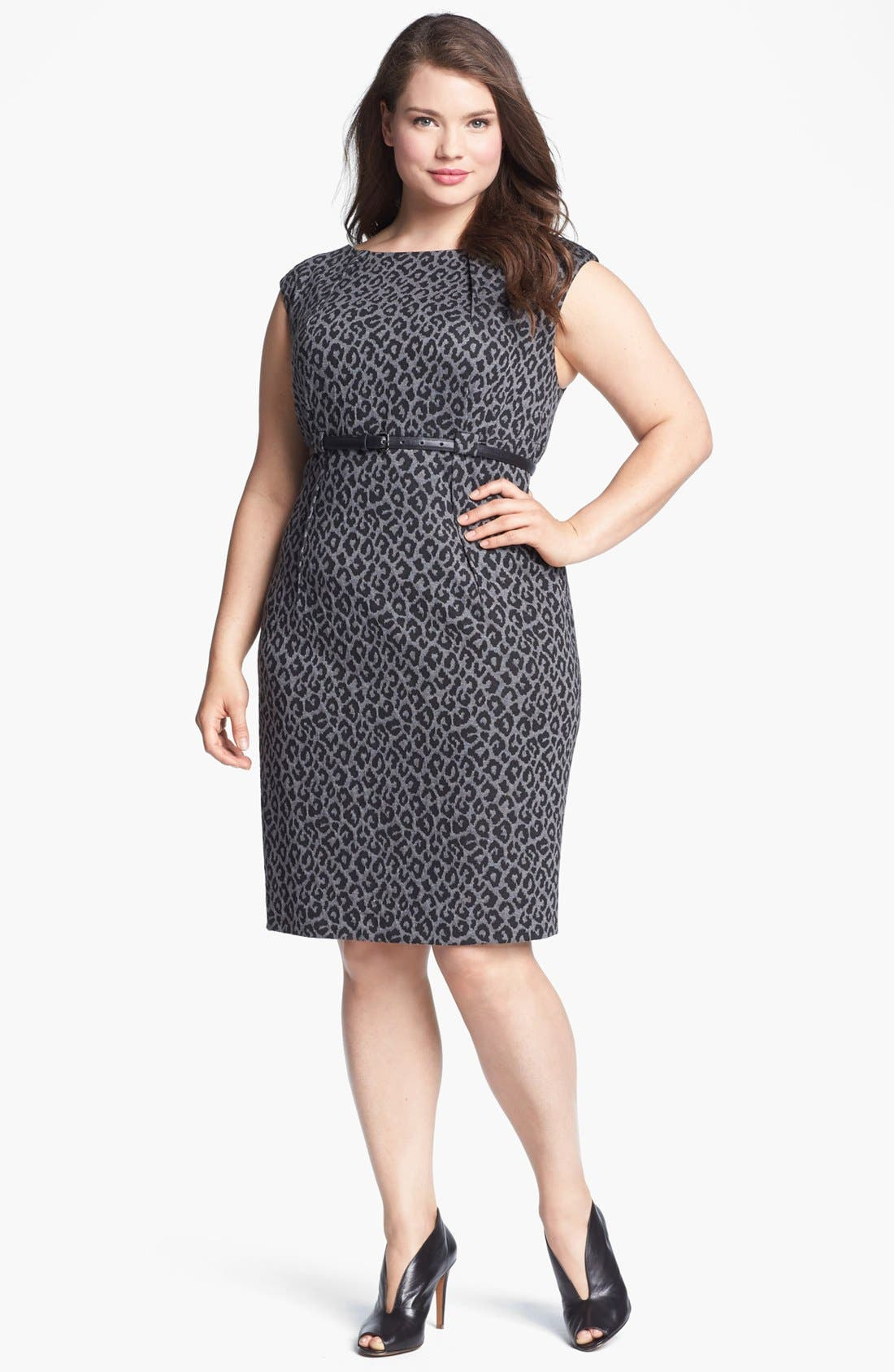 Alternate Image 1 Selected - Calvin Klein Cap Sleeve Print Sheath Dress (Plus Size) (Online Only)
