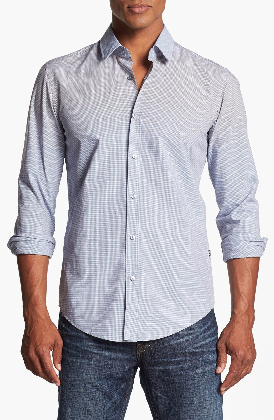 Main Image - BOSS HUGO BOSS 'Ronny' Slim Fit Ombré Check Sport Shirt