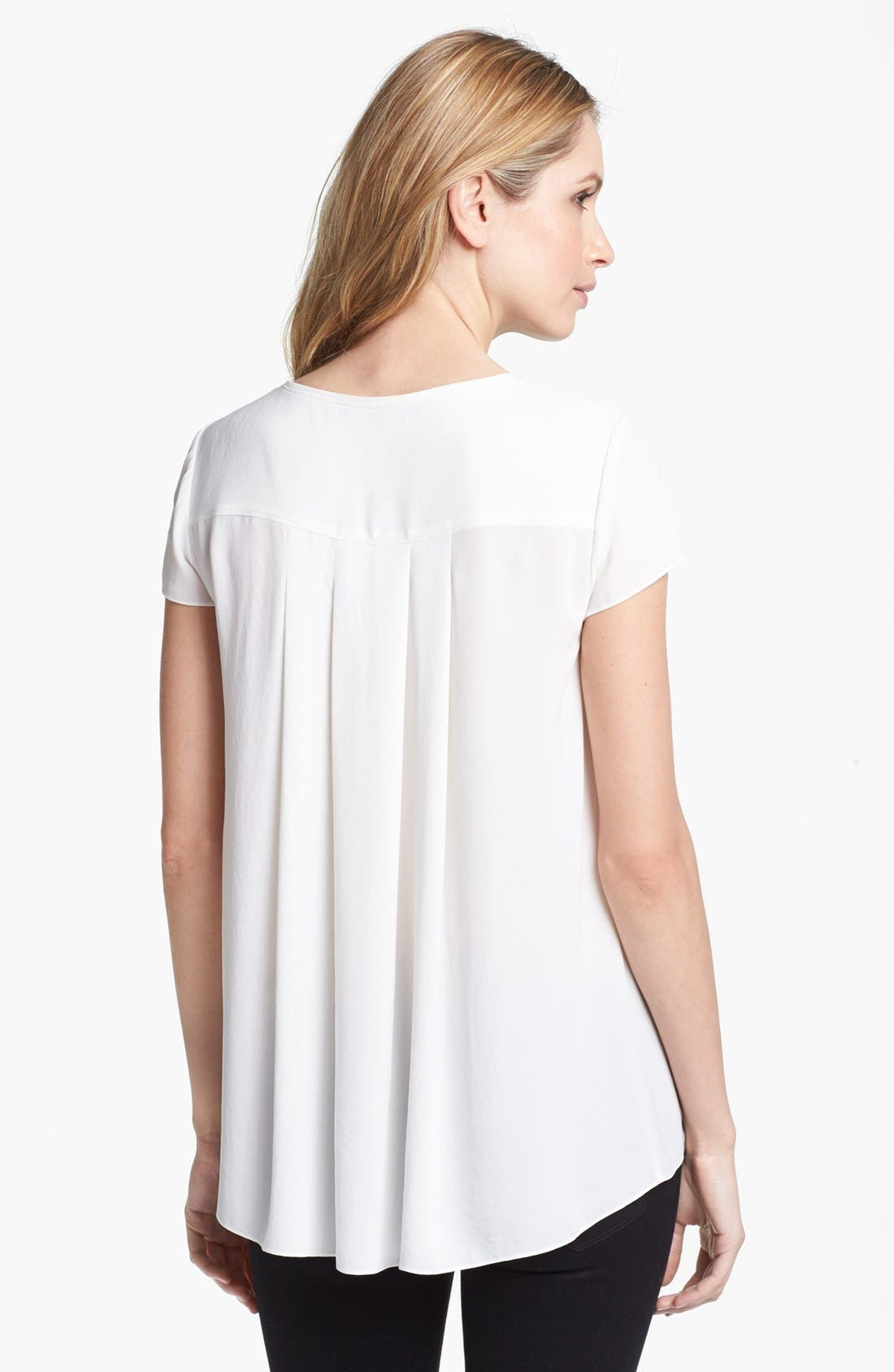 Alternate Image 2  - Adrianna Papell Short Sleeve Pleat Back Blouse