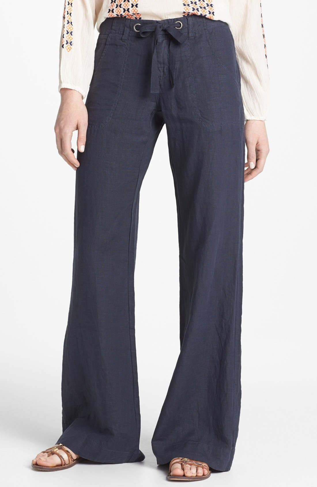 Wide Leg Linen Pants,                         Main,                         color, Eclipse