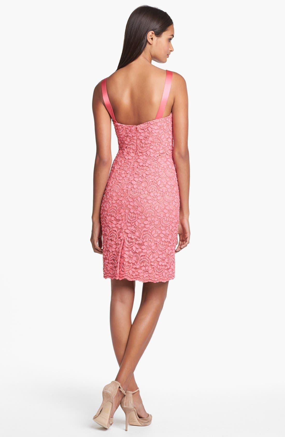Alternate Image 2  - Aidan Mattox Embellished Lace Sheath Dress (Online Only)