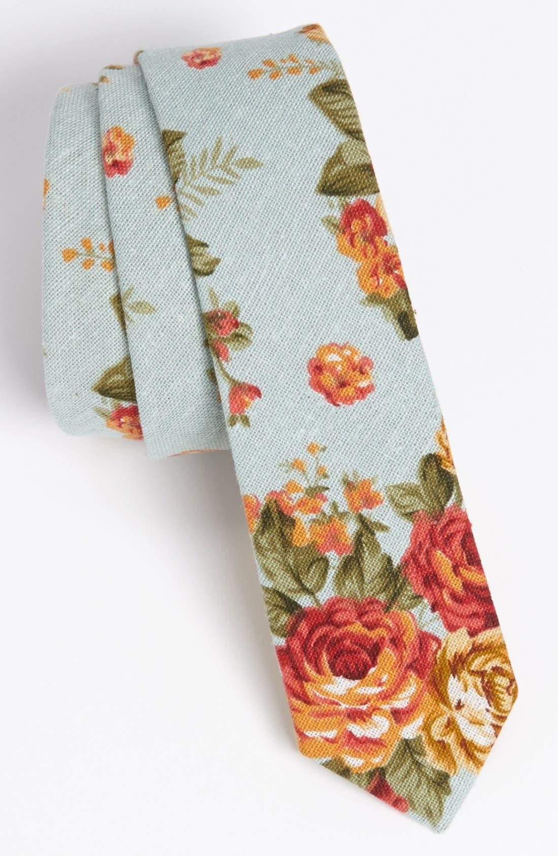 Main Image - Topman Floral Print Woven Tie