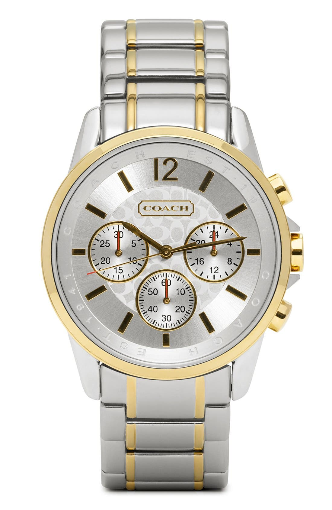 Alternate Image 1 Selected - COACH 'Classic Signature' Round Bracelet Watch