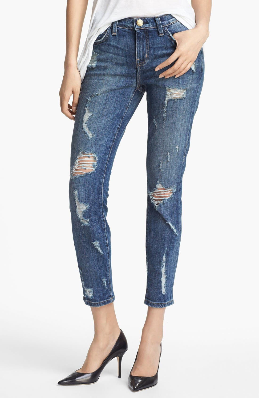 Main Image - Current/Elliott 'The Stiletto' Stretch Jeans (Dark Shredded)