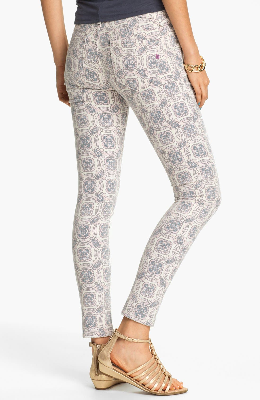 Alternate Image 2  - Vigoss Print Skinny Jeans (Pink) (Juniors)
