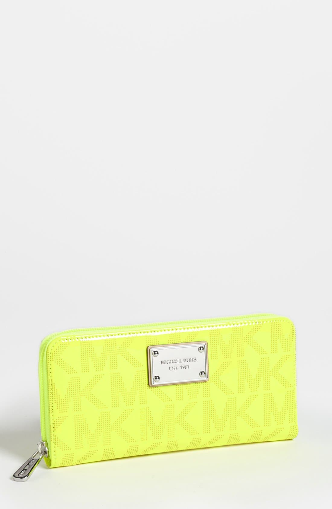 Alternate Image 1 Selected - MICHAEL Michael Kors 'Signature' Faux Patent Zip Around Wallet