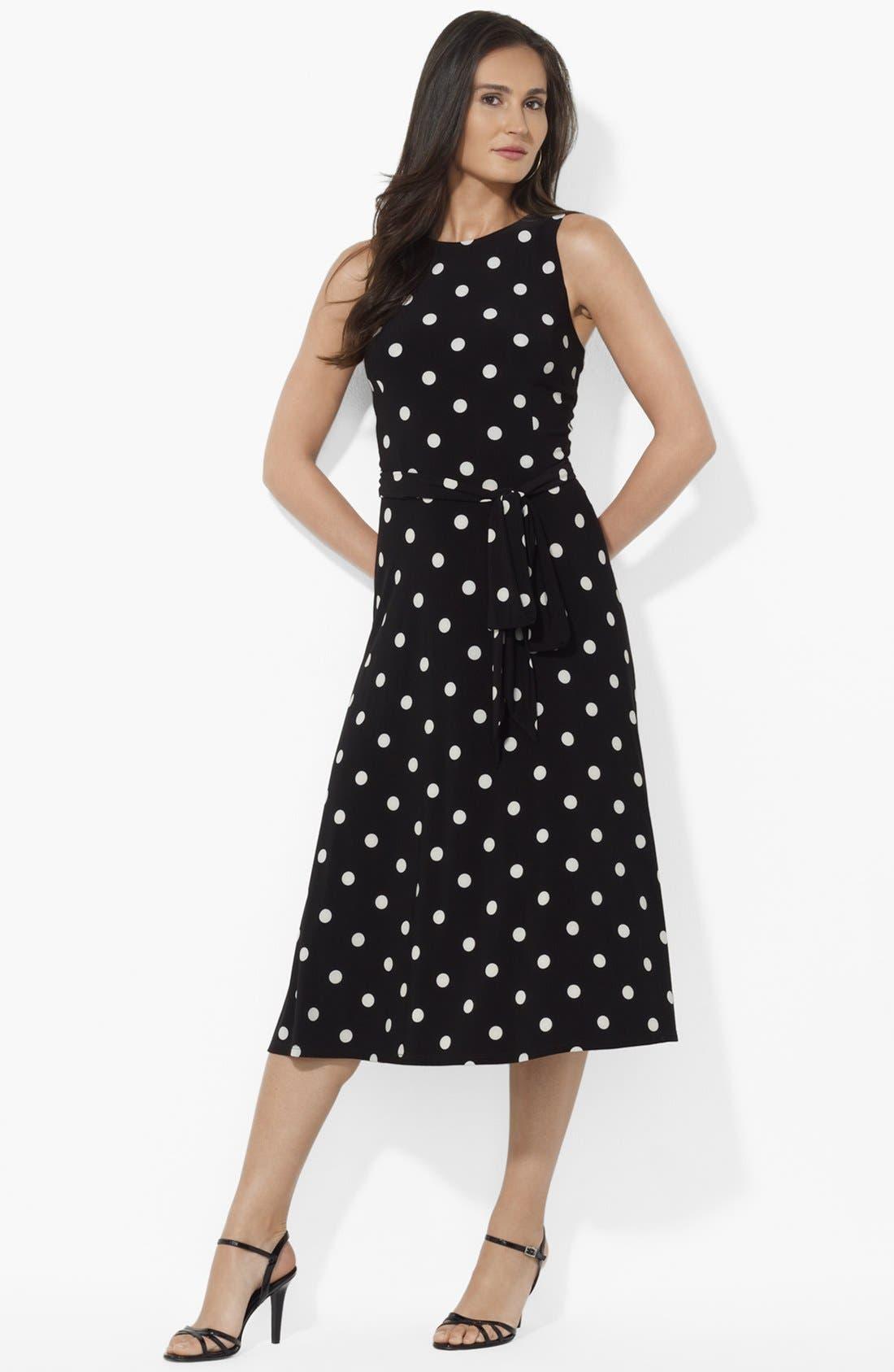 Main Image - Lauren Ralph Lauren Polka Dot Matte Jersey Dress